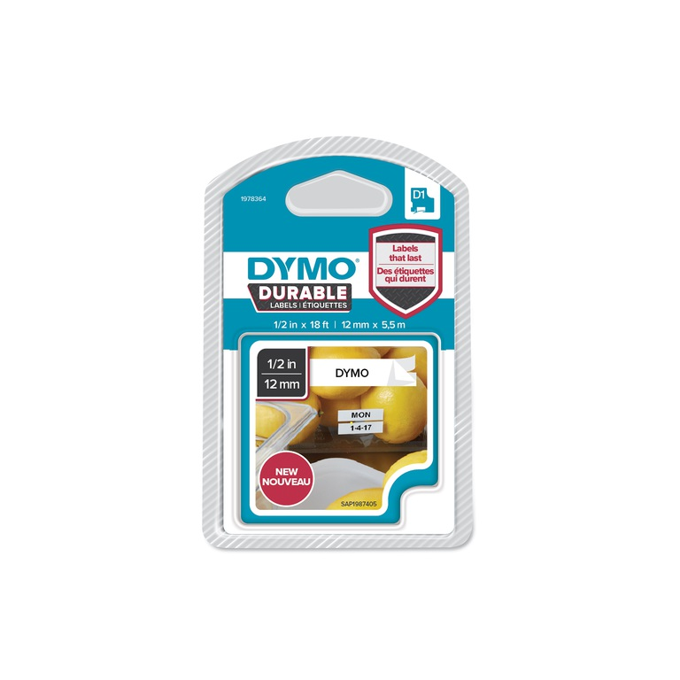 DYMO D1 DURABLE 12MMX5.5M SORT/HVIT BLFRI
