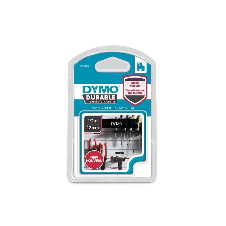 DYMO D1 DURABLE 12MMX3M HVIT/SORT BLFRI