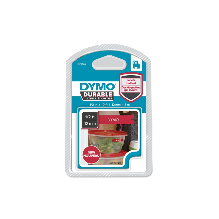 DYMO D1 DURABLE 12MM X3M HVIT/RØD BLFRI
