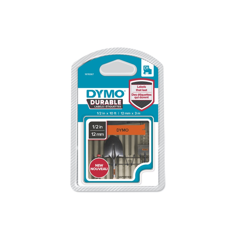 DYMO D1 DURABLE 12MMX3M SORT/ORANGE BLFRI