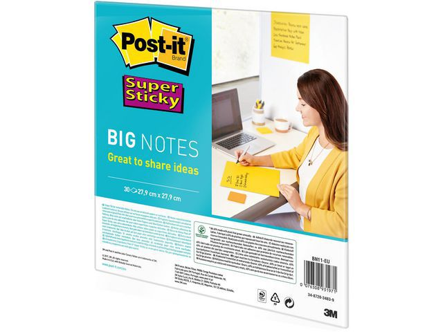 POST-IT SUPERST BIG NOTES GUL 279X279MM