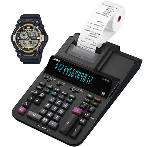 BORDREGNER CASIO DR420RE OG CASIO KLOKKE